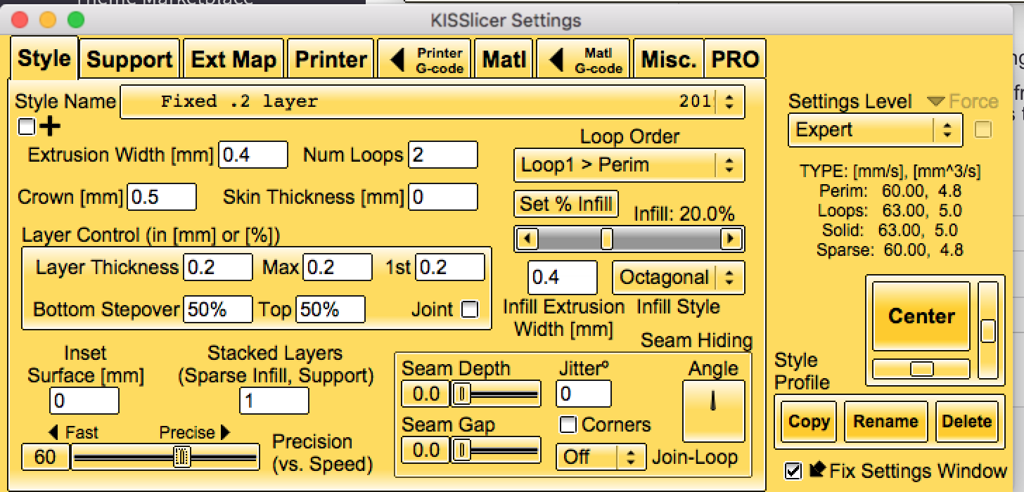 The Style tab in KISSlicer for the Preload tuning wizard.