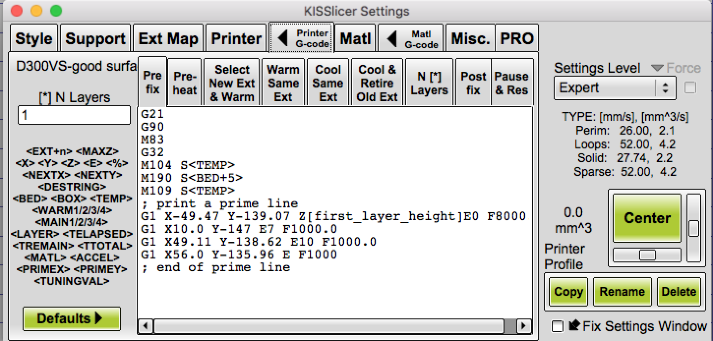 A sample screenshot of the printer g-code tab in KISSlicer.