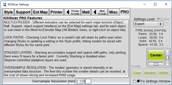 A screenshot of the KISSlicer Pro settings in KISSlicer.