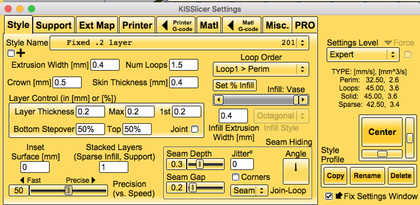 The Style tab for the KISSlicer Flow Rate Wizard.