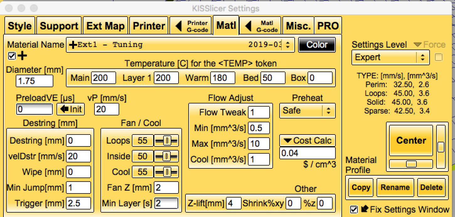 The Material tab for the KISSlicer Flow Rate Wizard.